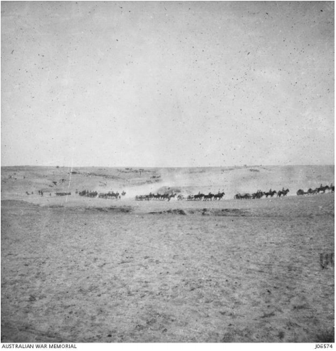 Australian War Memorial - Light Horsemen advance on Beersheba. J06574