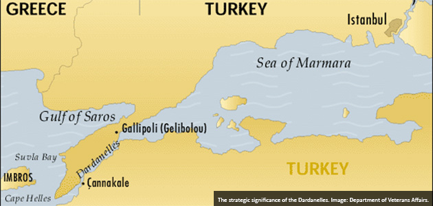The strategic significance of the Dardanelles. Image: Department of Veterans Affairs.