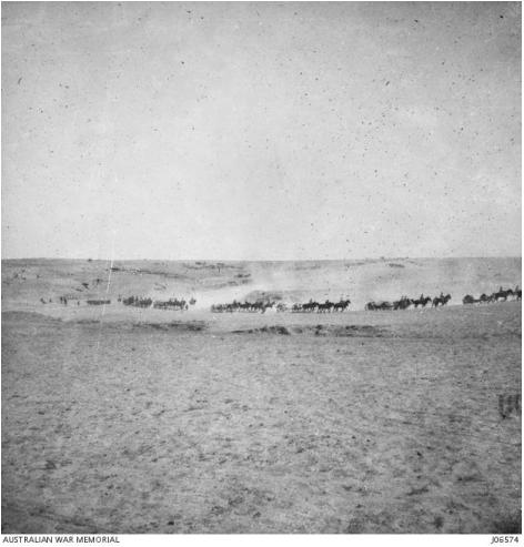 Australian War Memorial - Light Horsemen advance on Beersheba. J06574